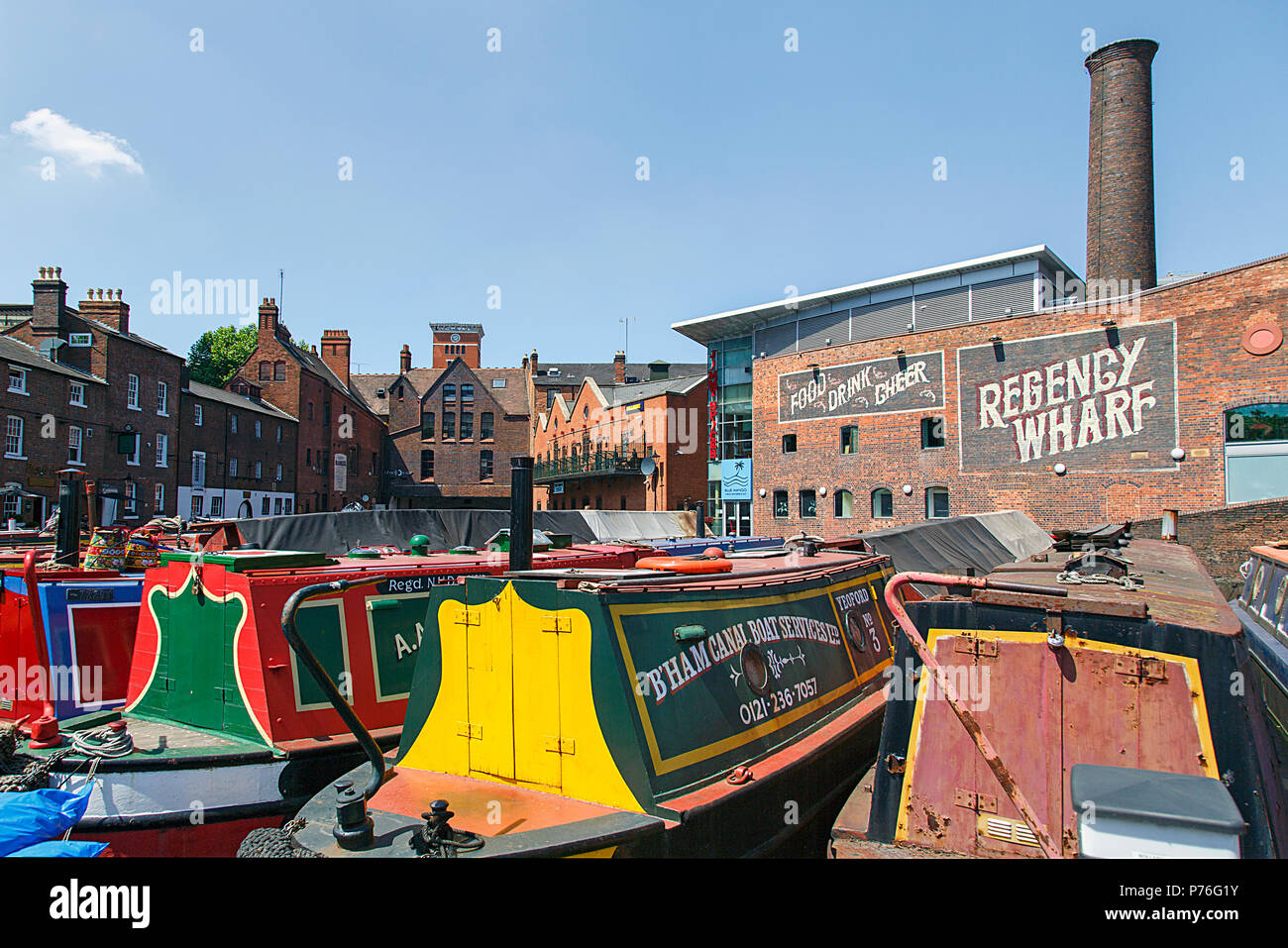 Birmingham, UK: June 29, 2018: Regency Wharf at Gas Street Basin. The restored canal system in Birmingham central is a national heritage landmark. - Stock Image