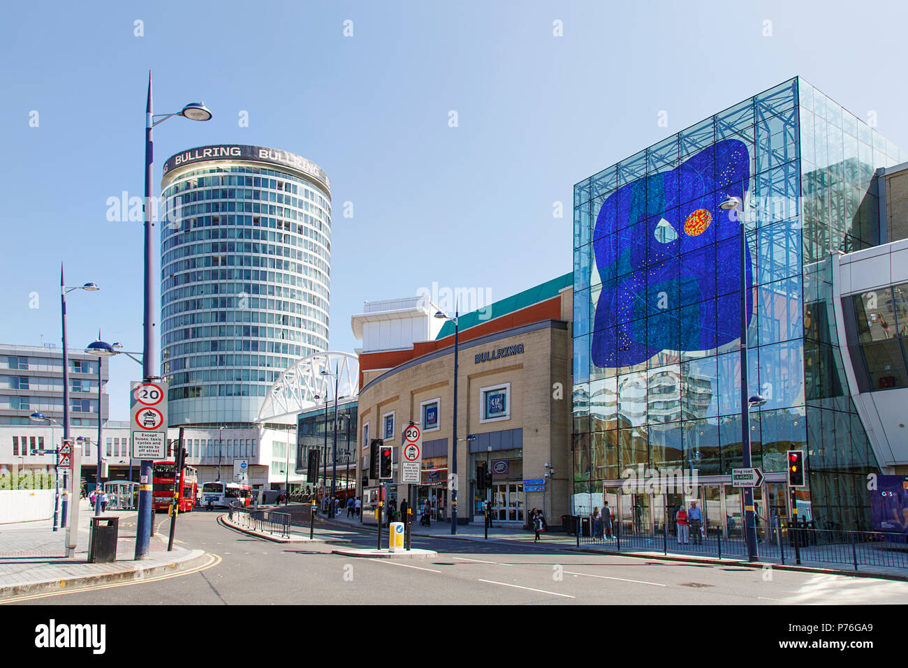 Birmingham, UK: June 29, 2018: The Bullring Shopping Centre - Birmingham. People crossing the road to Grand Central Station on Smallbrook Queensway. - Stock Image