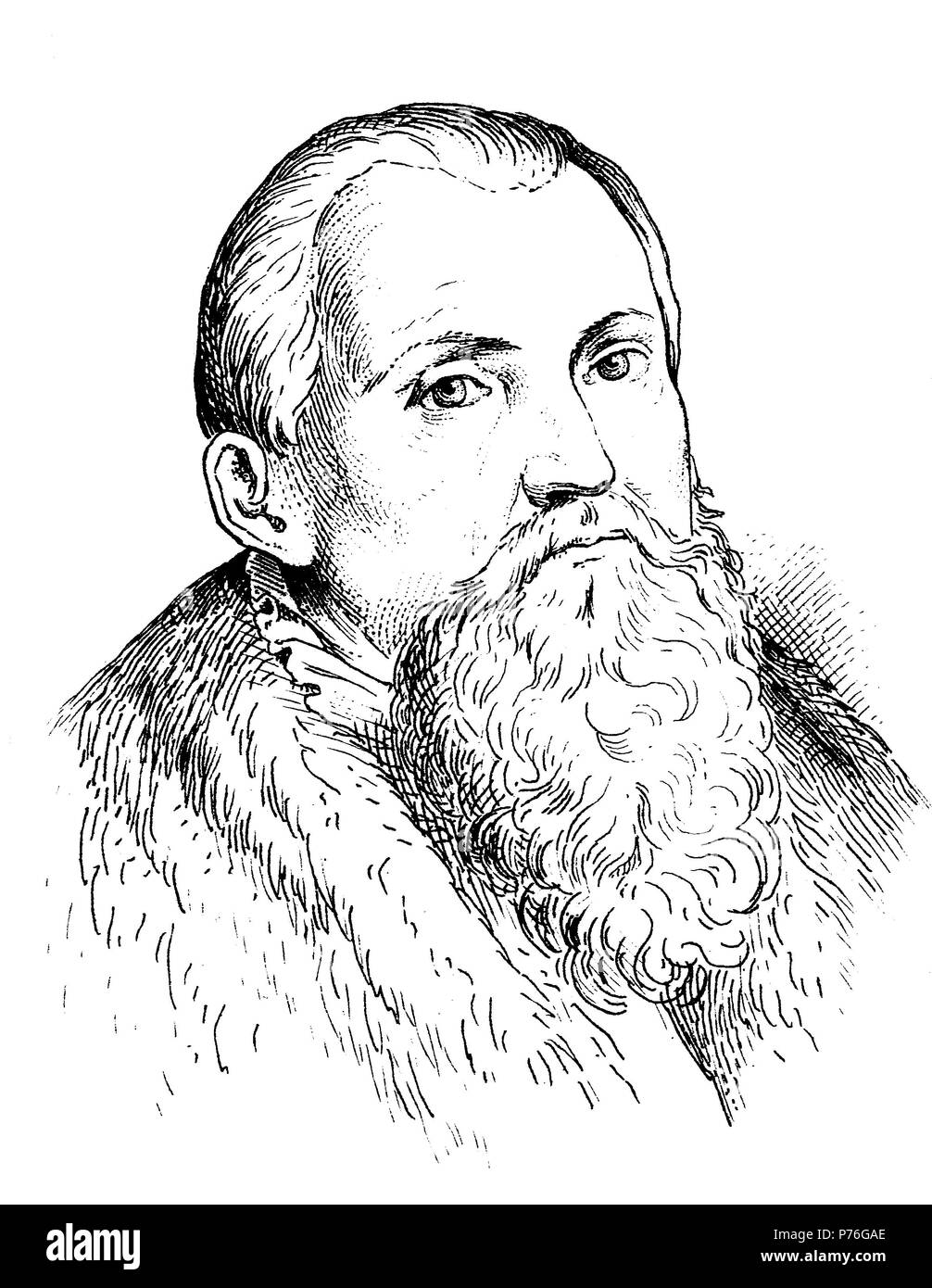 Lucas Cranach the Elder, Lucas Cranach der Ältere, a German Renaissance painter and printmaker in woodcut and engraving, digital improved reproduction of an original print from the year 1881 - Stock Image