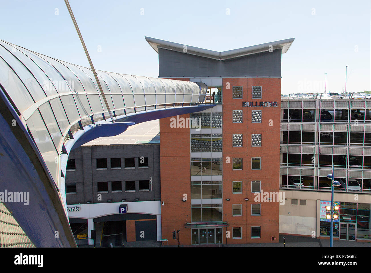 Birmingham, UK: June 29, 2018: Selfridges Moor Street Car Park. A conveniently located multi-story car park opposite the iconic Selfridges building. Stock Photo