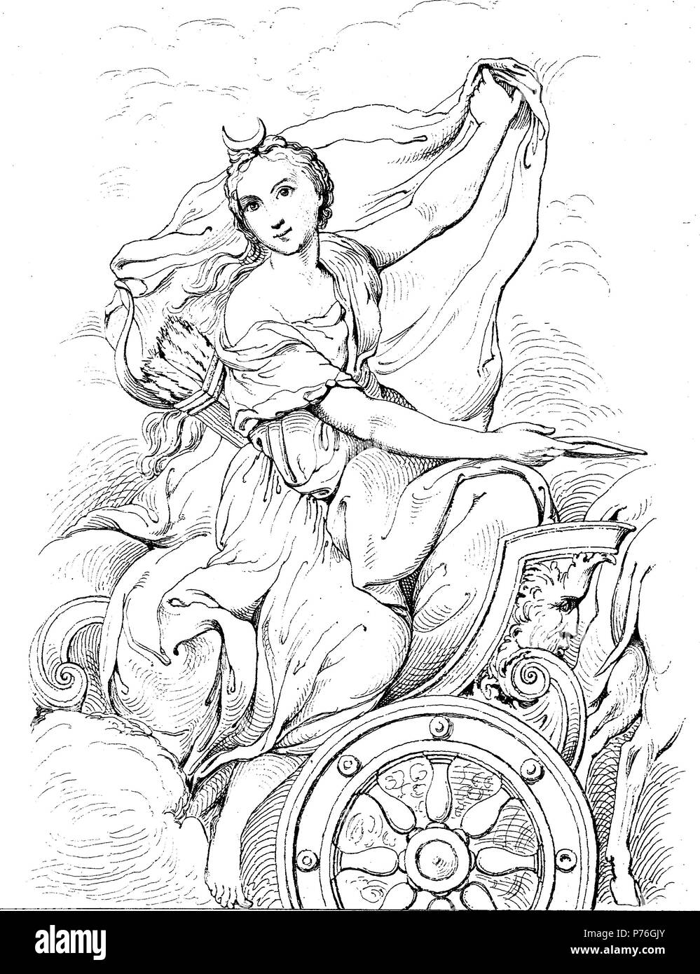 Diana was the goddess of the hunt, the moon, and nature in Roman mythology, associated with wild animals and woodland, and having the power to talk to and control animals, digital improved reproduction of an original print from the year 1881 - Stock Image