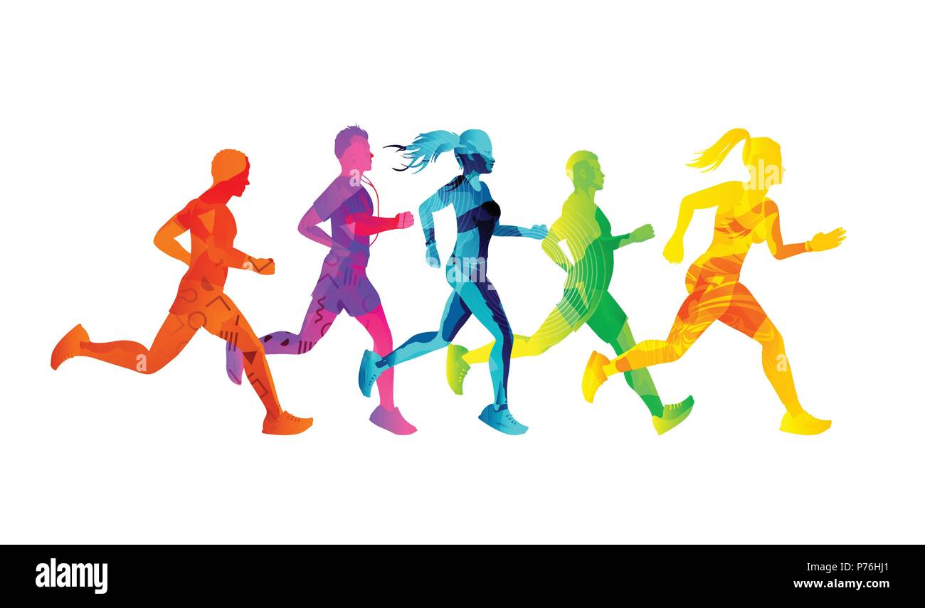 A Group Of Running Men And Women Competing And Staying Fit Colourful Texture People Silhouettes Vector Illustration Stock Vector Image Art Alamy Beautiful and fit woman exercising with two dumbbell weights on her hands, emblem, vector illustration. https www alamy com a group of running men and women competing and staying fit colourful texture people silhouettes vector illustration image210972553 html