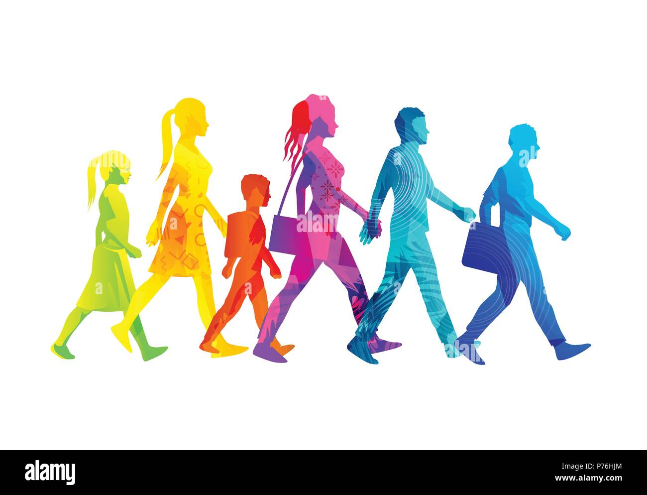A selection of people silhouettes walking including children, women and men. Colourful texture vector illustration. - Stock Image