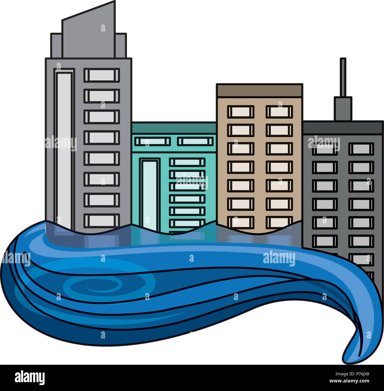 river at the city buildings icon over white background, vector illustration - Stock Vector