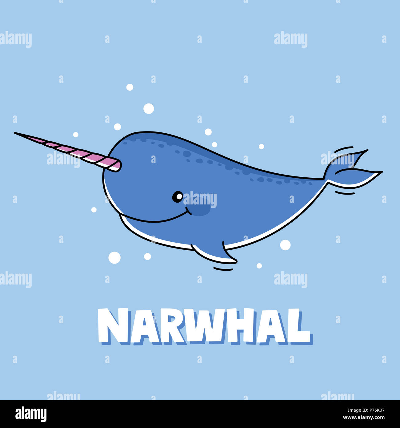 Cute Cartoon Narwhal: Adorable Sea Life Illustration For Children