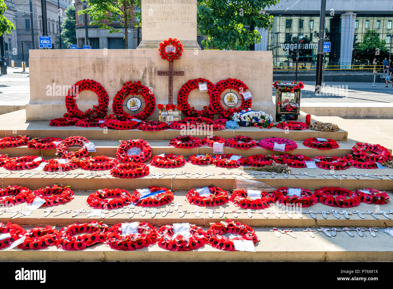 War memorial and cenotaph in St Peters Square, Manchester, UK Stock Photo