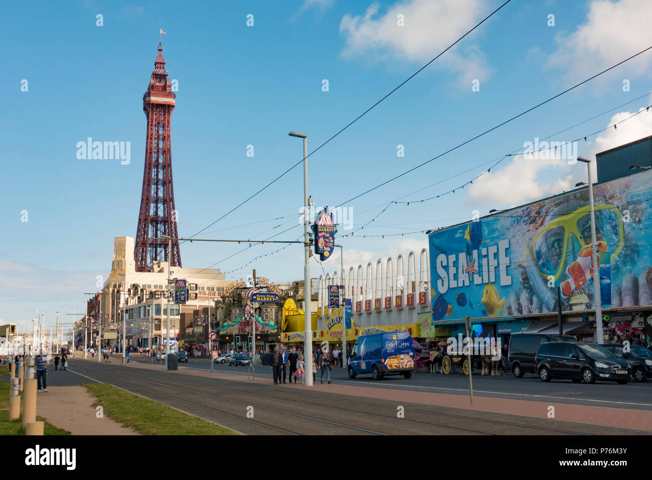 Blackpool Tower and Sea Life Centre - Stock Image