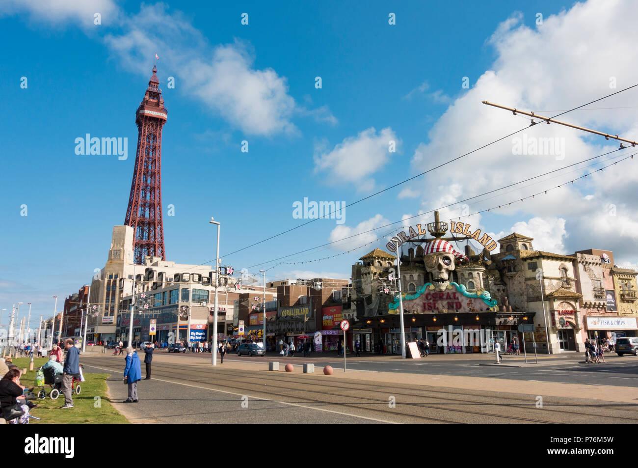Coral Island Amusement Arcade in Blackpool - Stock Image
