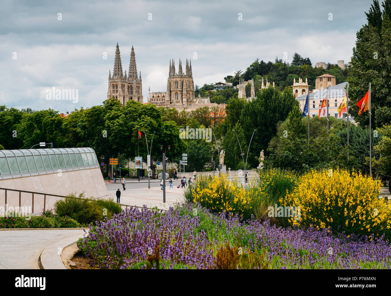 13th-century Burgos Cathedral is outstanding for the elegance and harmony of its architecture - UNESCO World Heritage designation - Stock Image