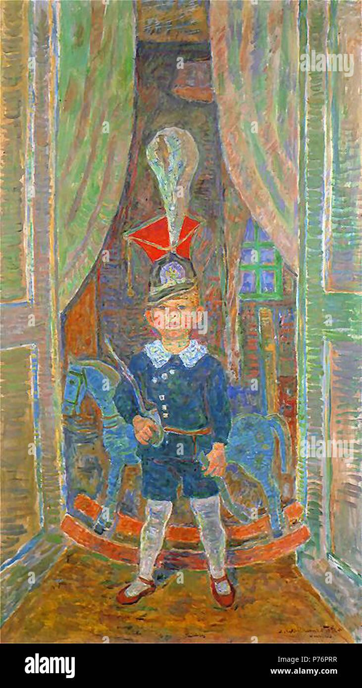 .  English: Boy in shako. Andy. Polski: Chopiec w czaku. Jdru.  1932 226 Waliszewski-Chlopiec w czaku Stock Photo