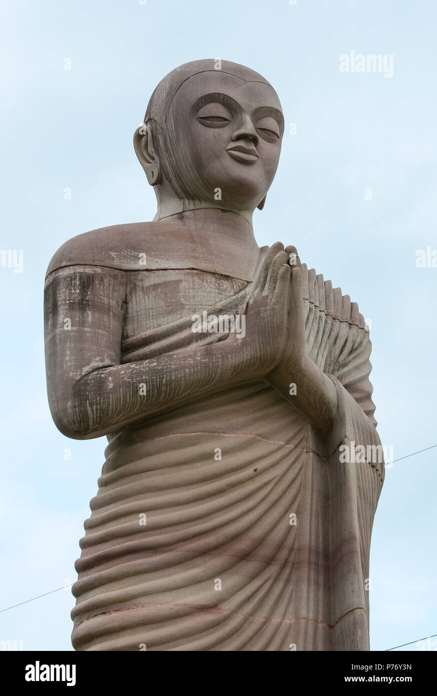 Ancient Giant Buddha Statue in Bodhgaya, India. Bodhgaya is the most revered of all Buddhist sacred sites. - Stock Image