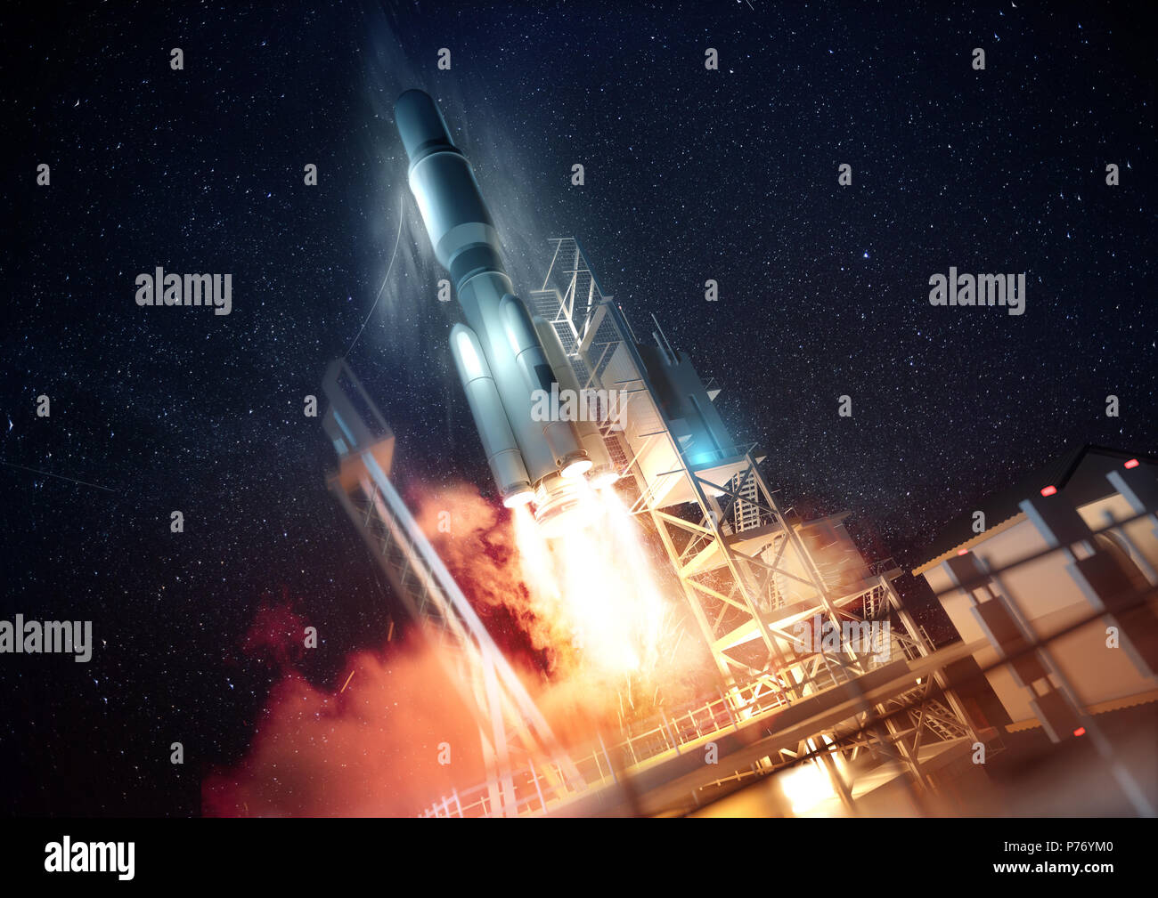 A large commercial rocket being launched into space at night. 3D illustration. - Stock Image