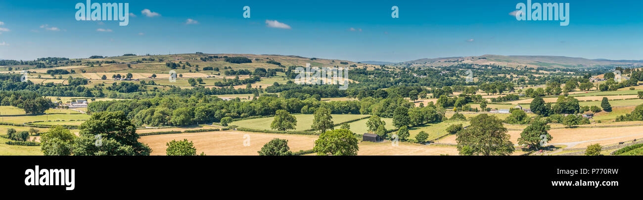 North Pennines panoramic landscape, Teesdale and Lunedale from Eggleston on a fine and warm summer morning Stock Photo