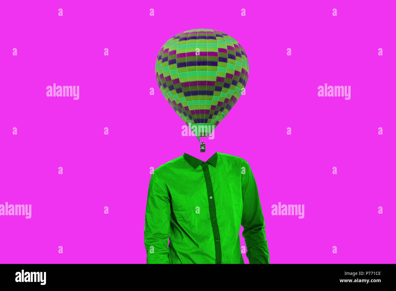 Surrealistic minimal concept. A balloon instead of a human head. Minimalism and surrealism - Stock Image