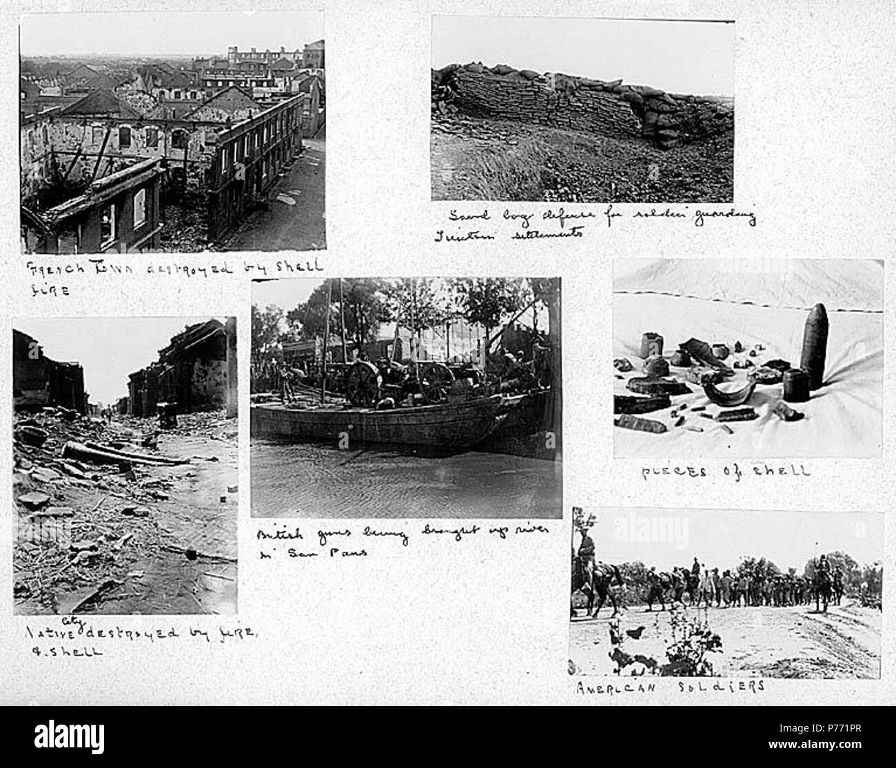 . English: 7.13 Scenes of destruction and military activities, ca. 1899-1901 . English: Captions on album page: French town destroyed by shell fire; Sand bag defense for soldiers guarding Tien Tsin settlements; Native city destroyed by fire and shell; British guns being brought up river in sam pans; Pieces of shell; American soldiers . PH Coll 241.B13a-f Subjects (LCTGM): War damage--China; Ethnic neighborhoods--China; Artillery (Weaponry)--British--China; Sampans--China; Shells (Ammunition); Soldiers--American--China Subjects (LCSH): China--History--Boxer Rebellion, 1899-1901--Destruction and - Stock Image