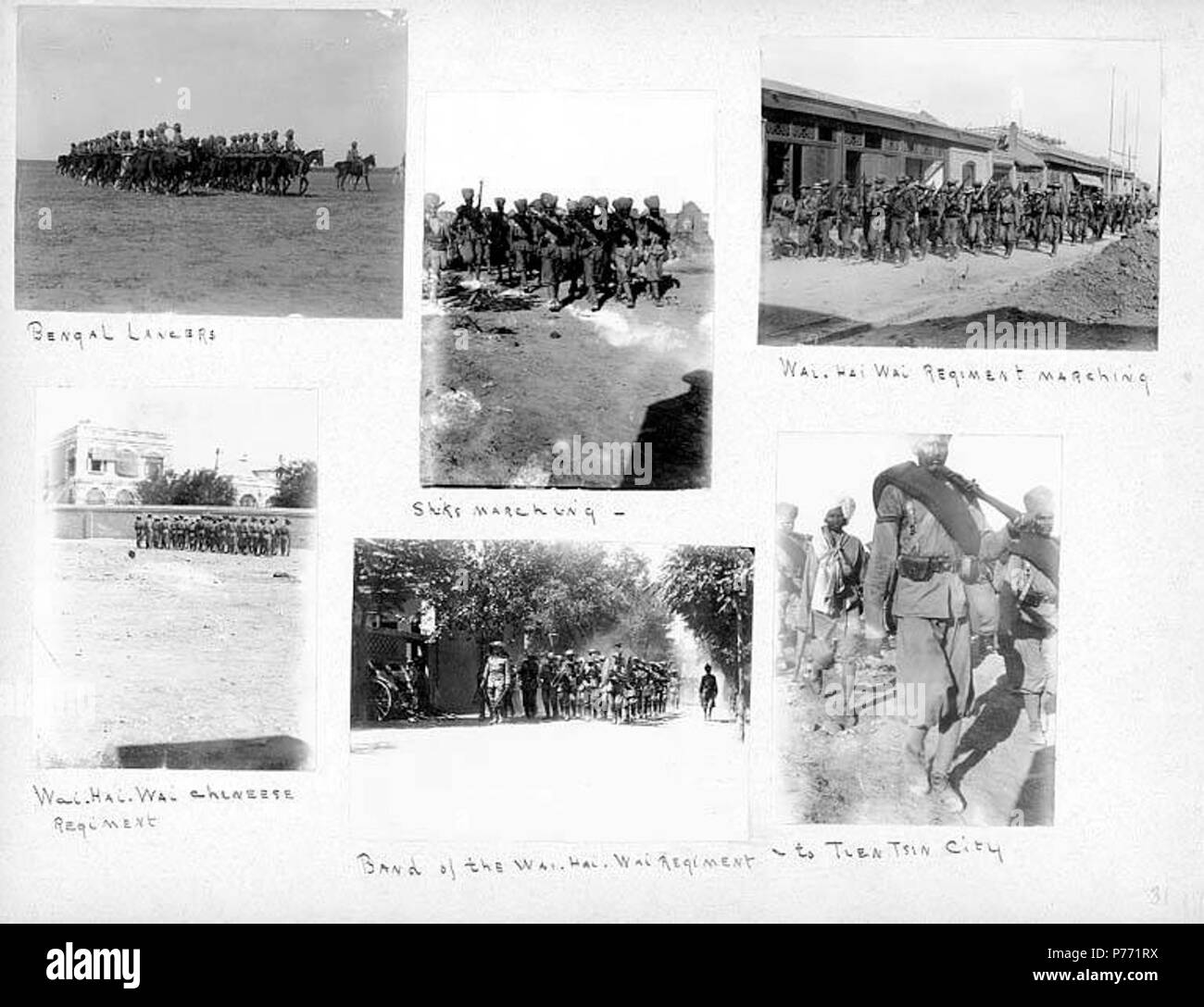 . English: 7.32 Soldiers on the march, 1900 . English: Captions on album page: Bengal Lancers; Shiks [i.e. Sikhs] marching; Wai Hai Wai Regiment marching; Wai Hai Wai Chinese Regiment; Band of the Wai Hai Wai Regiment; to Tien Tsin City . PH Coll 241.B32a-f Subjects (LCTGM): Lancers--Indian--China--Tianjin; Soldiers--Chinese--China--Tianjin; Horses--China--Tianjin Subjects (LCSH): Tianjin (China)--History--Siege, 1900; China--History--Boxer Rebellion, 1899-1901; India. Army. Bengal Lancers  . 1900 1 732 Soldiers on the march, 1900 (CHANDLESS 51) - Stock Image