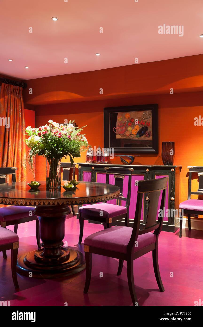 Orange And Purple Dining Room