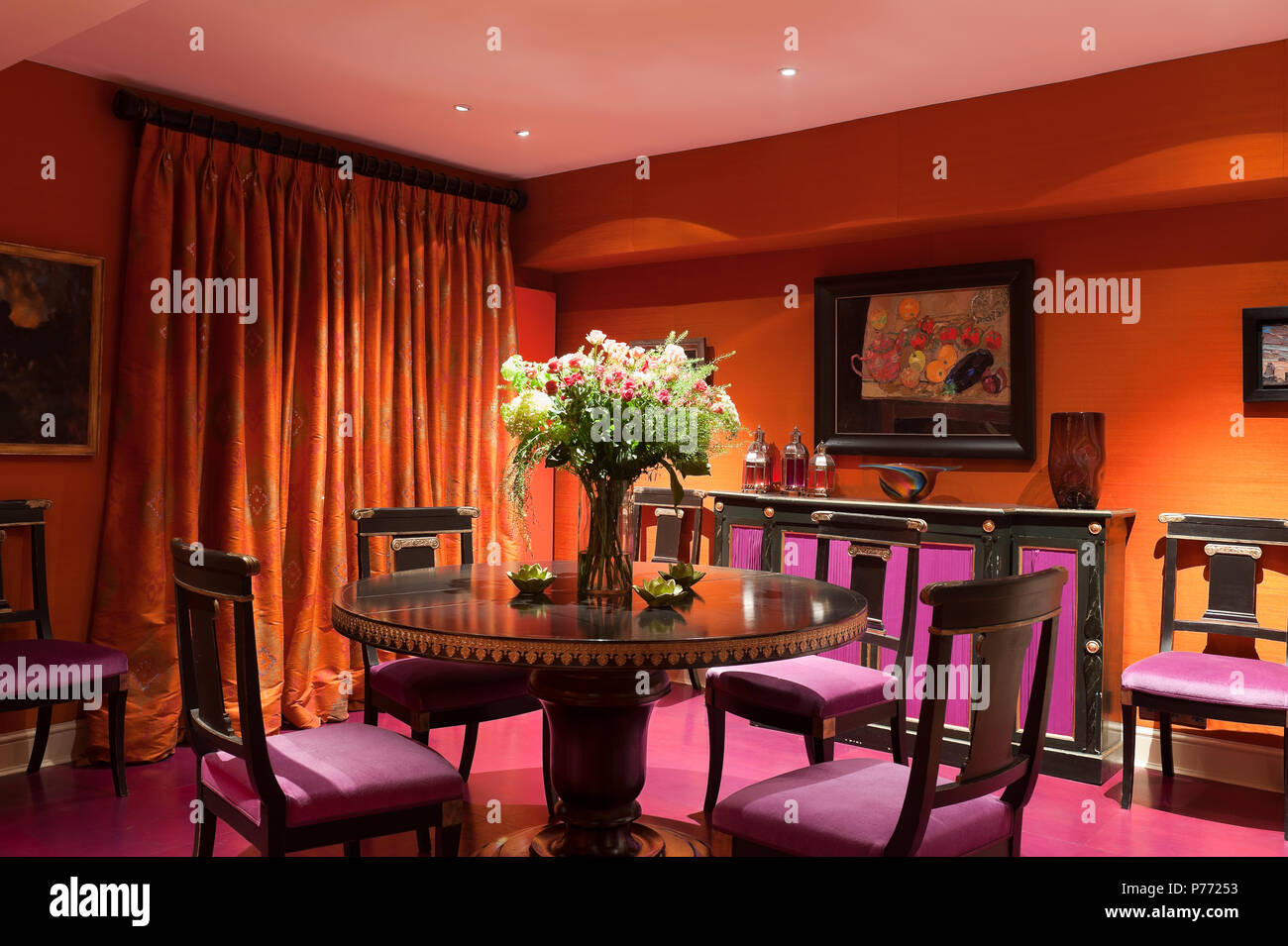 Orange And Purple Dining Room