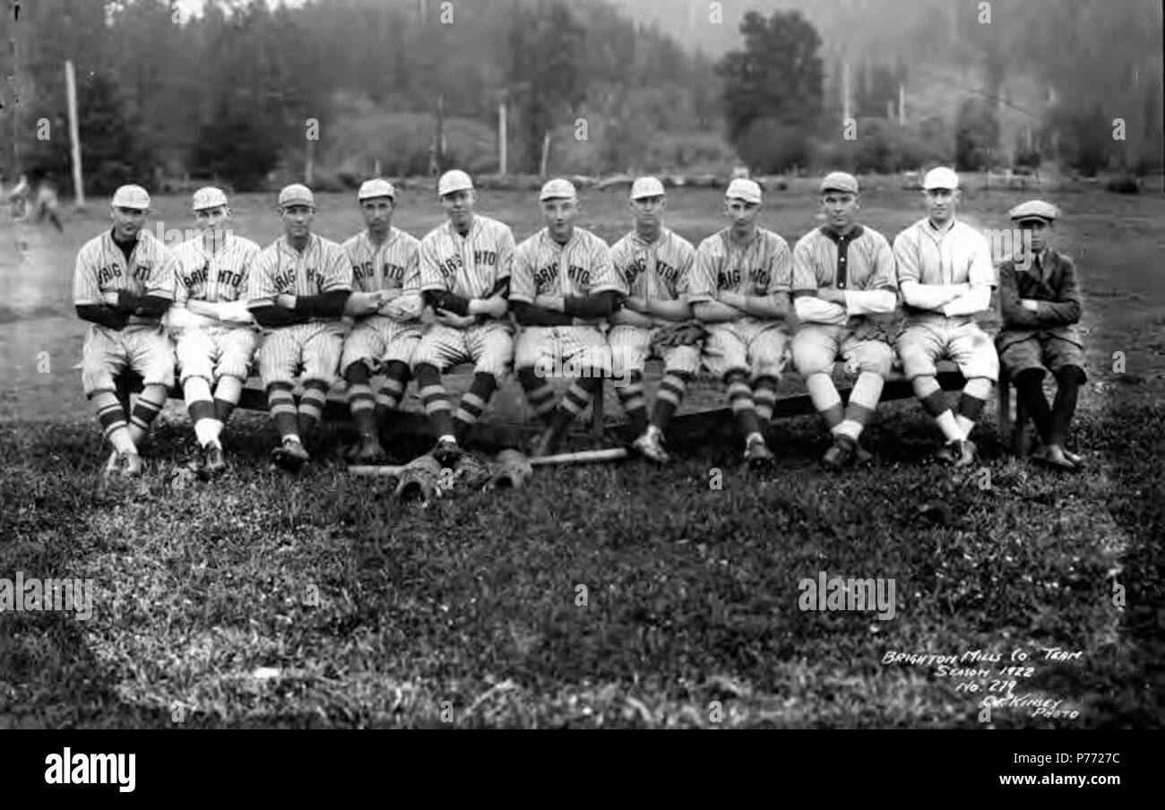 . English: Brighton baseball team, Brighton Mills Company, Brighton, ca. 1922 . English: Caption on image: Brighton Mills Co. Team Season 1922, No. 279 PH Coll 516.251 Brighton was founded in 1910 and was named after the seaside resort in England. The Brighton Mills Company was founded in 1911 by the Watts Brothers of Bay City. The mill was closed in 1926. Subjects (LCSH): xyz  . circa 1922 2 Brighton baseball team, Brighton Mills Company, Brighton, ca 1922 (KINSEY 2150) Stock Photo