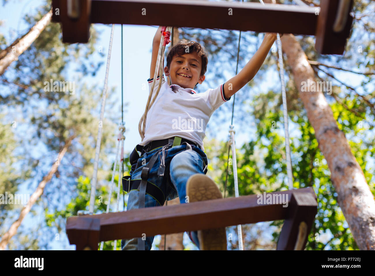 Cheerful preteen boy being not afraid of height at rope park - Stock Image