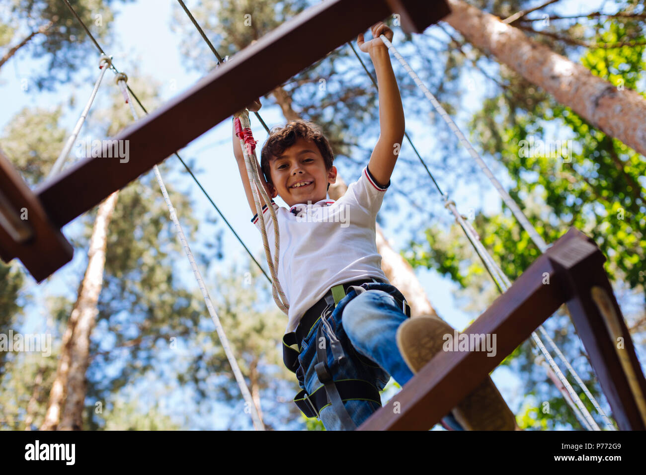 Cute preteen boy climbing at adventure park - Stock Image