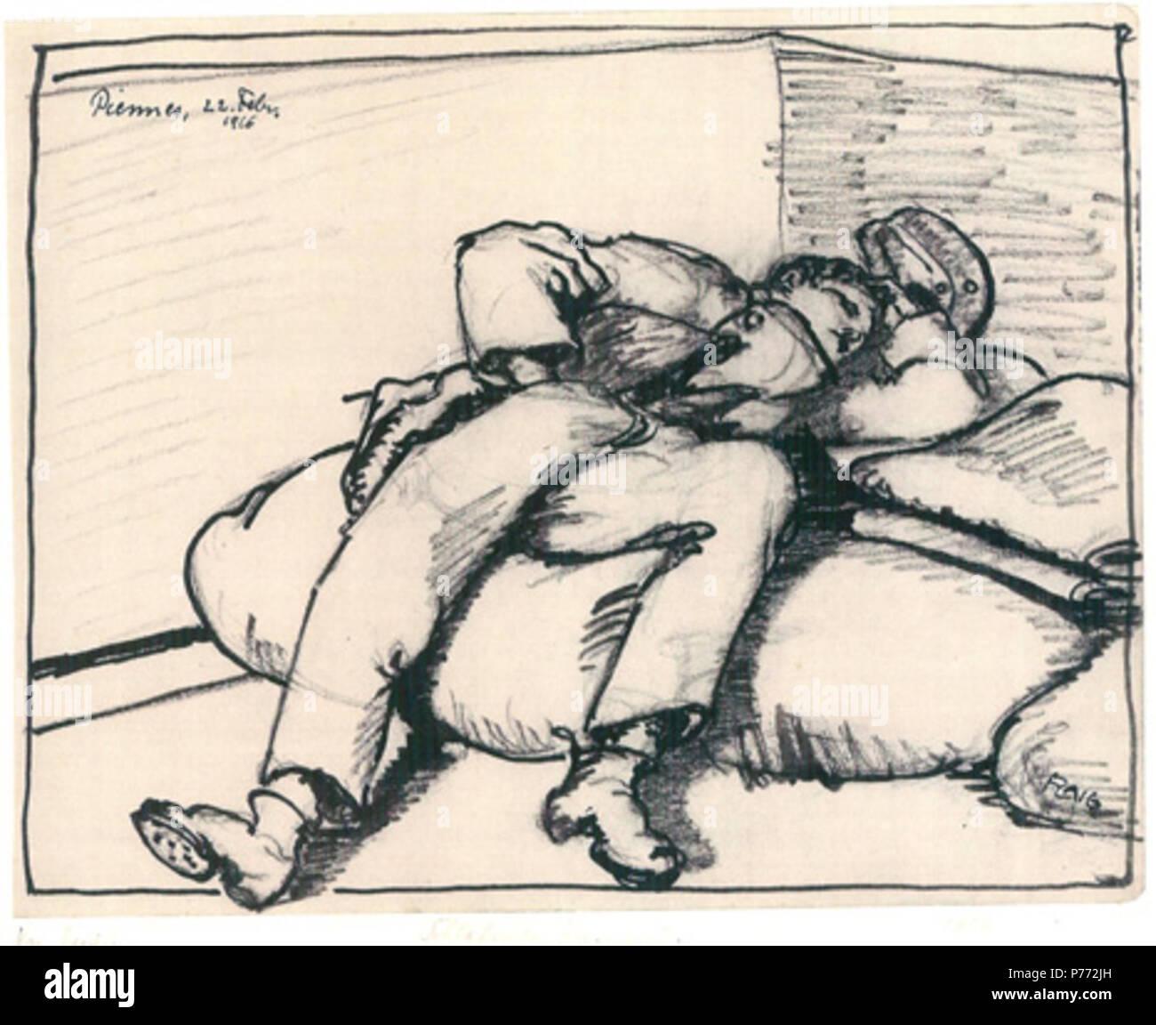 Zeichnung aus dem Kriegstagebuch von Waldemar Flaig (1. Weltkrieg) Blatt 11, Schlafender Kamerad, 1916 . 1916 9 Flaig Kriegstagebuch Blatt 11 Schlafender Kamerad 1916 - Stock Image