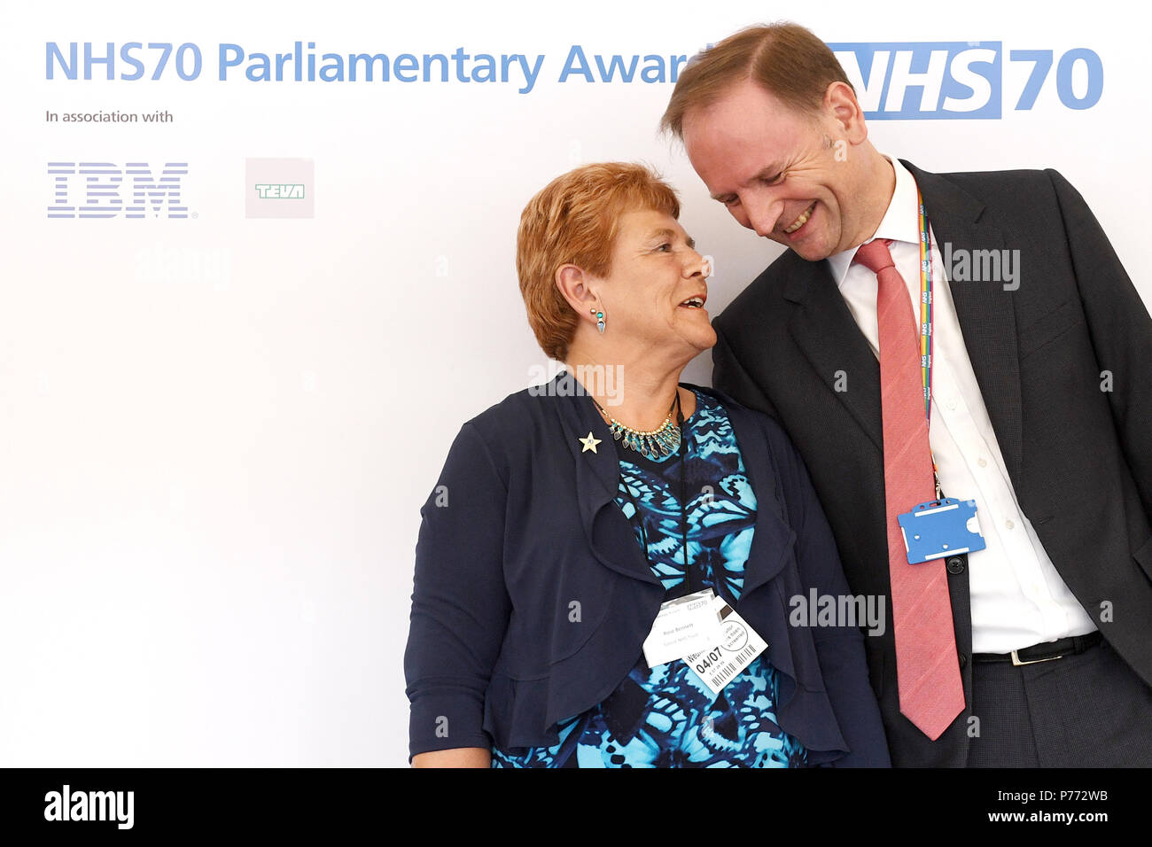 Rose Bennett of Solent NHS Trust is awarded a Lifetime Achievement Award during the NHS70 parliamentary awards for the 70th anniversary of the NHS at the House of Commons in Westminster, London. - Stock Image