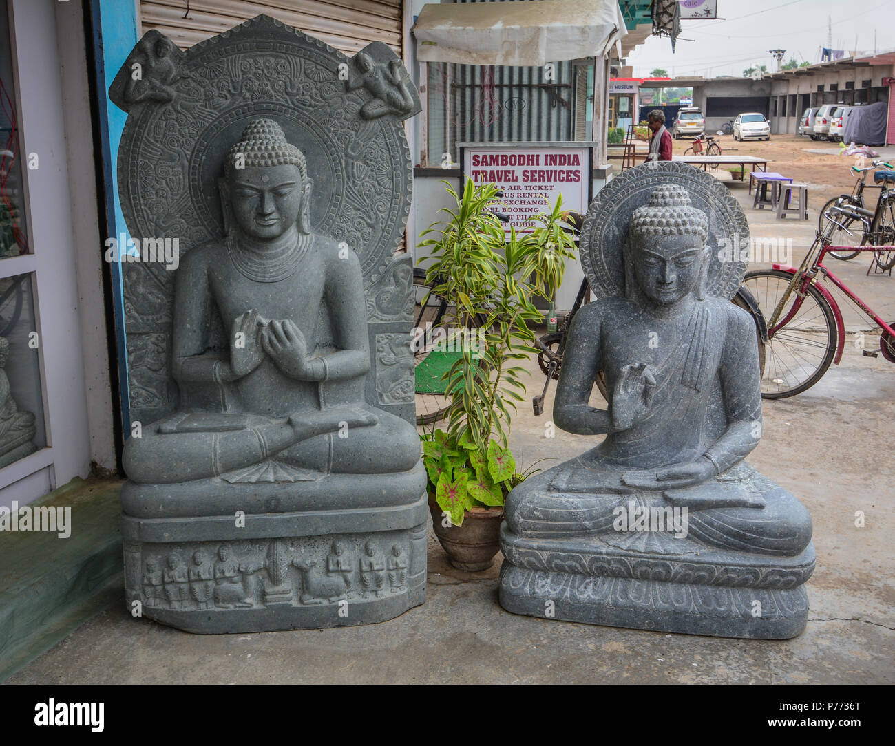 Bodhgaya, India - July 9, 2015. Buddha statues for sale in Bodhgaya, India. Bodhgaya is the most revered of all Buddhist sacred sites. - Stock Image