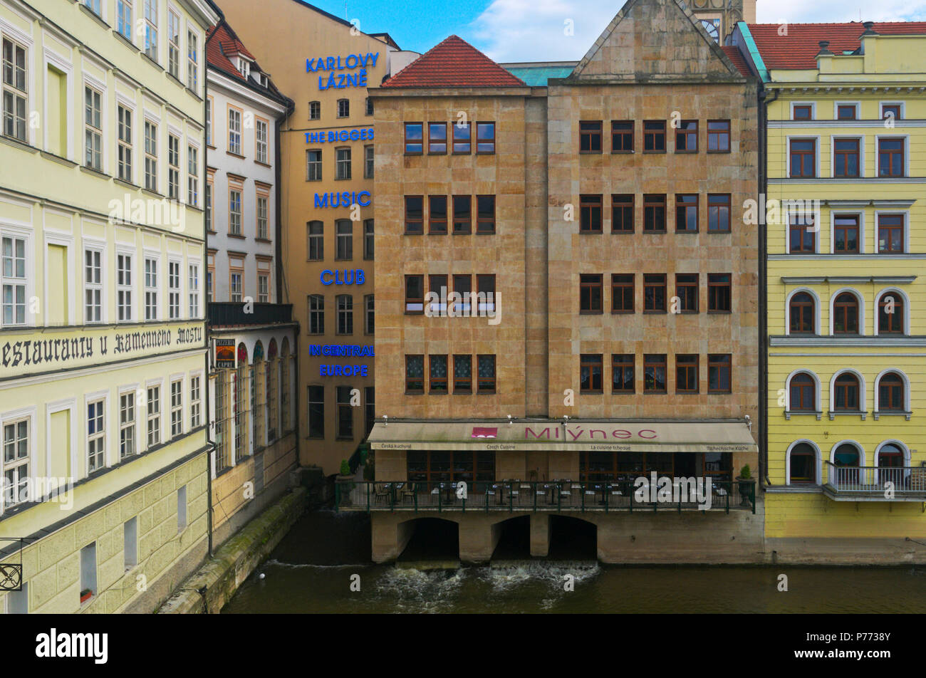 music club Karlovy Lazne and Mlynec restaurant, Vltava riverside, Novotneho Lavka, Old Town Prague, Czech Republic - Stock Image