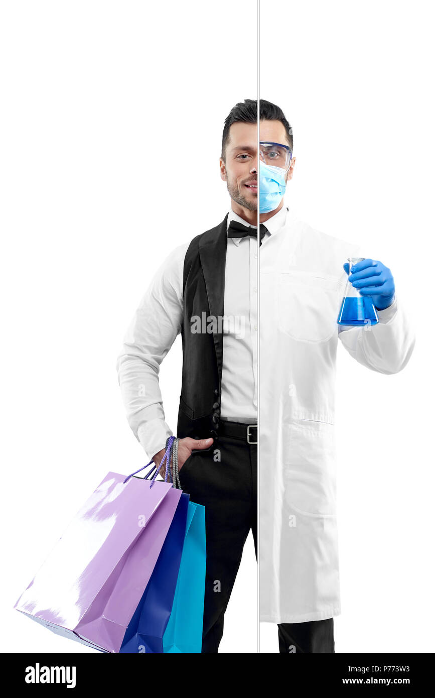 Comparison of chemist and university graduate's outlook. Chemist wearing chemise gown, protective mask, gloves, keeping beaker. Attractive concierge w - Stock Image