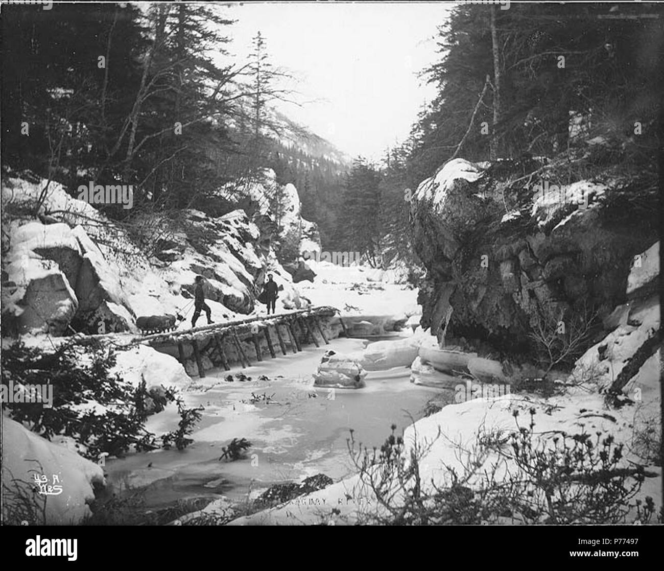 . English: Man and partner hauling sled, White Pass Trail, Skagway River, Alaska, ca. 1898. English: Caption on image: 'Winter trail on Skaguay River' Original image in Hegg Album 8, page 25 . Original photograph by Eric A. Hegg 129; copied by Webster and Stevens 43.A . Klondike Gold Rush Subjects (LCTGM): Rivers--Alaska; Sleds & sleighs--Alaska; Bridges--Alaska Subjects (LCSH): White Pass Trail; Trails--Alaska; Skagway River (Alaska)  . circa 1898 8 Man and partner hauling sled, White Pass Trail, Skagway River, Alaska, ca 1898 (HEGG 234) - Stock Image