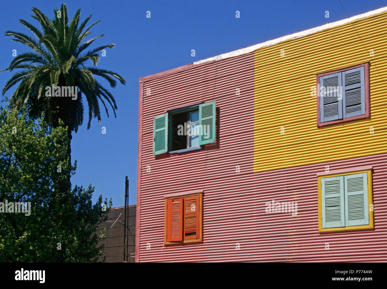corrugated iron facade of a house in La Boca, Buenos Aires,  Argentina, - Stock Image
