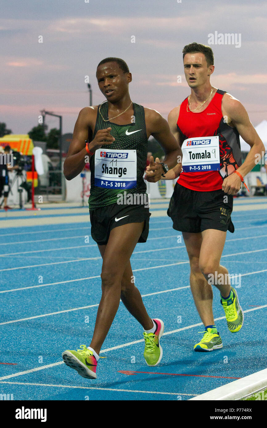 Racewalkers Lebogang Shange and Dawid Tomala competing at the P-T-S athletics meeting in the sports site of x-bionic sphere® in Samorín, Slovakia - Stock Image