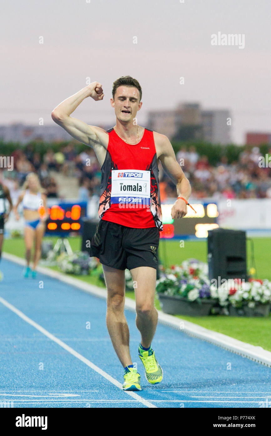 Polish racewalker Dawid Tomala competing at the P-T-S athletics meeting in the sports site of x-bionic sphere® in Samorín, Slovakia - Stock Image