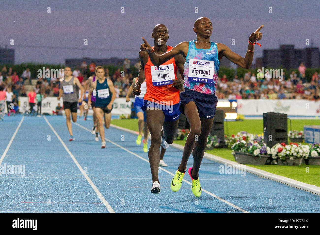 Men's 1500 metre run at the P-T-S athletics meeting in the sports site of x-bionic sphere® in Šamorín, Slovakia - Stock Image