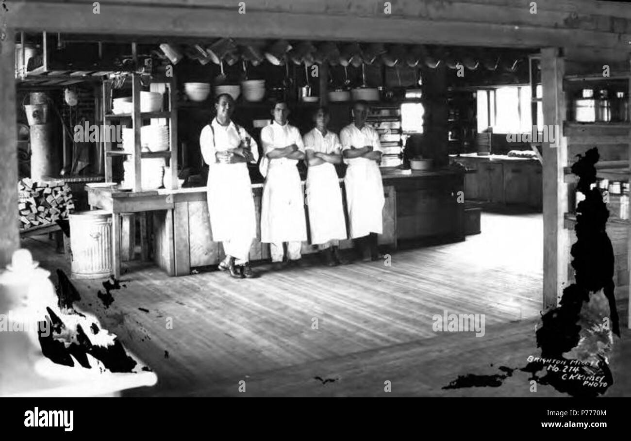 . English: Galley and crew, Brighton Mills Company, Brighton, ca. 1922 . English: Caption on image: Brighton Mills Co, Noi. 274 PH Coll 516.249 Brighton was founded in 1910 and was named after the seaside resort in England. The Brighton Mills Company was founded in 1911 by the Watts Brothers of Bay City. The mill was closed in 1926. Subjects (LCSH): xyz  . circa 1922 5 Galley and crew, Brighton Mills Company, Brighton, ca 1922 (KINSEY 2149) Stock Photo