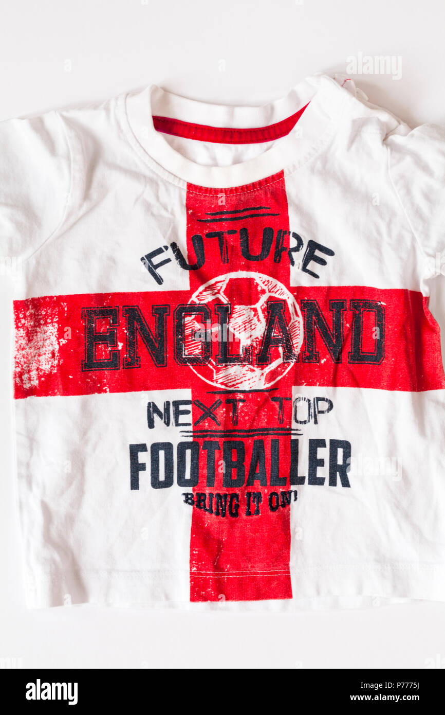 Future England Next Top Footballer bring in on - childs t-shirt set on white background - Stock Image