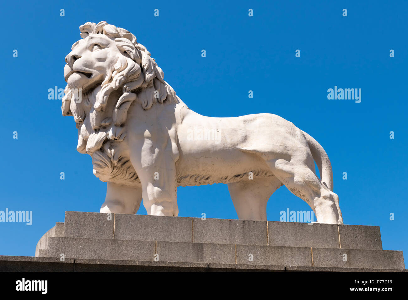 London Southbank The South Bank Lion of Coade Ceramic Stone by William Frederick Woodington in 1837 some 4m sq south side Westminster Bridge Stock Photo
