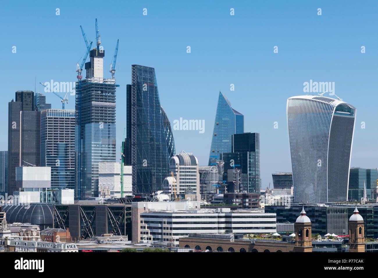 London City Cityscape modern landmark buildings Walkie Talkie Gherkin Scalpel River Thames Southwark Bridge Cannon Street Station Vintners Hall - Stock Image