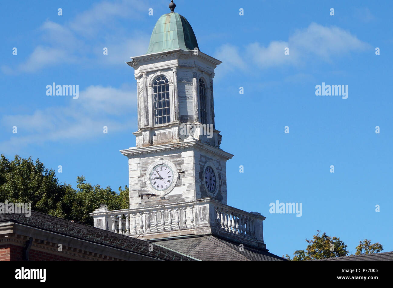 Clock Tower On an Abandoned Hospital Building Stock Photo