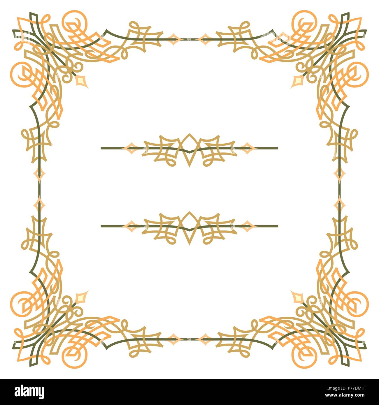 Colorful luxury border, wire frame beautifully blended Stock Vector