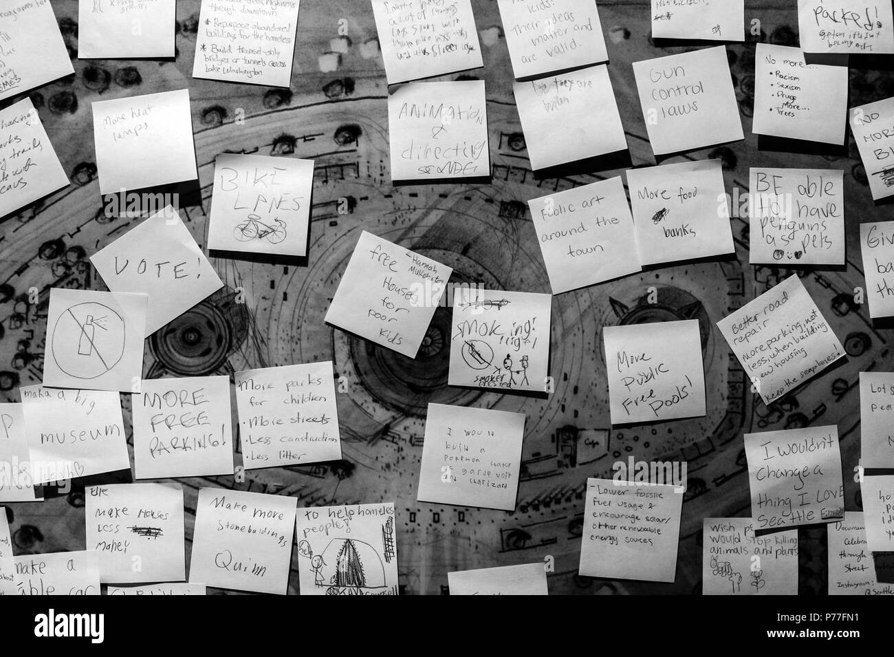 Post it notes on board with kids giving suggestions in their own words for the future - Stock Image
