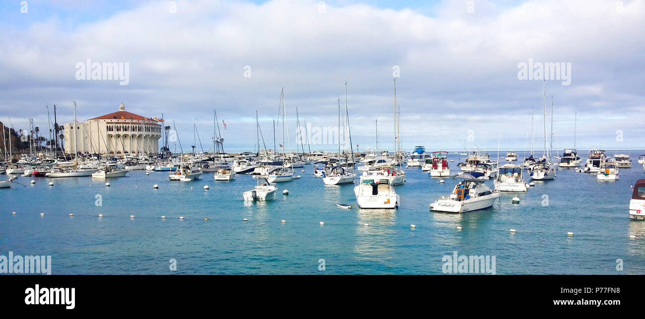 a84a3cb8b24d Moored boats in the bay of Avalon harbour on Santa Catalina Island  California - Stock Image