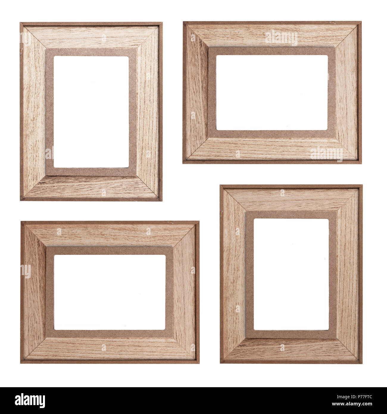 Set of wooden photo frames isolated on white background - vintage ...