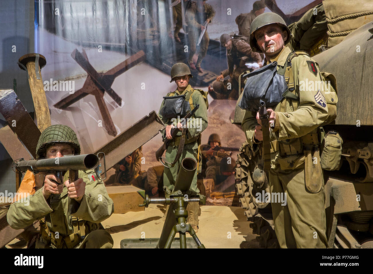 Diorama Showing Ww2 Us Soldiers Fighting At Omaha Beach In The Overlord Museum About Wwii D Day Colleville Sur Mer Normandy France Stock Photo Alamy