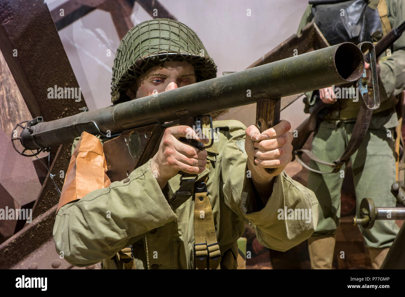 Diorama Showing Ww2 Us Soldier Firing Bazooka At Omaha Beach In The Overlord Museum About Wwii D Day Colleville Sur Mer Normandy France Stock Photo Alamy