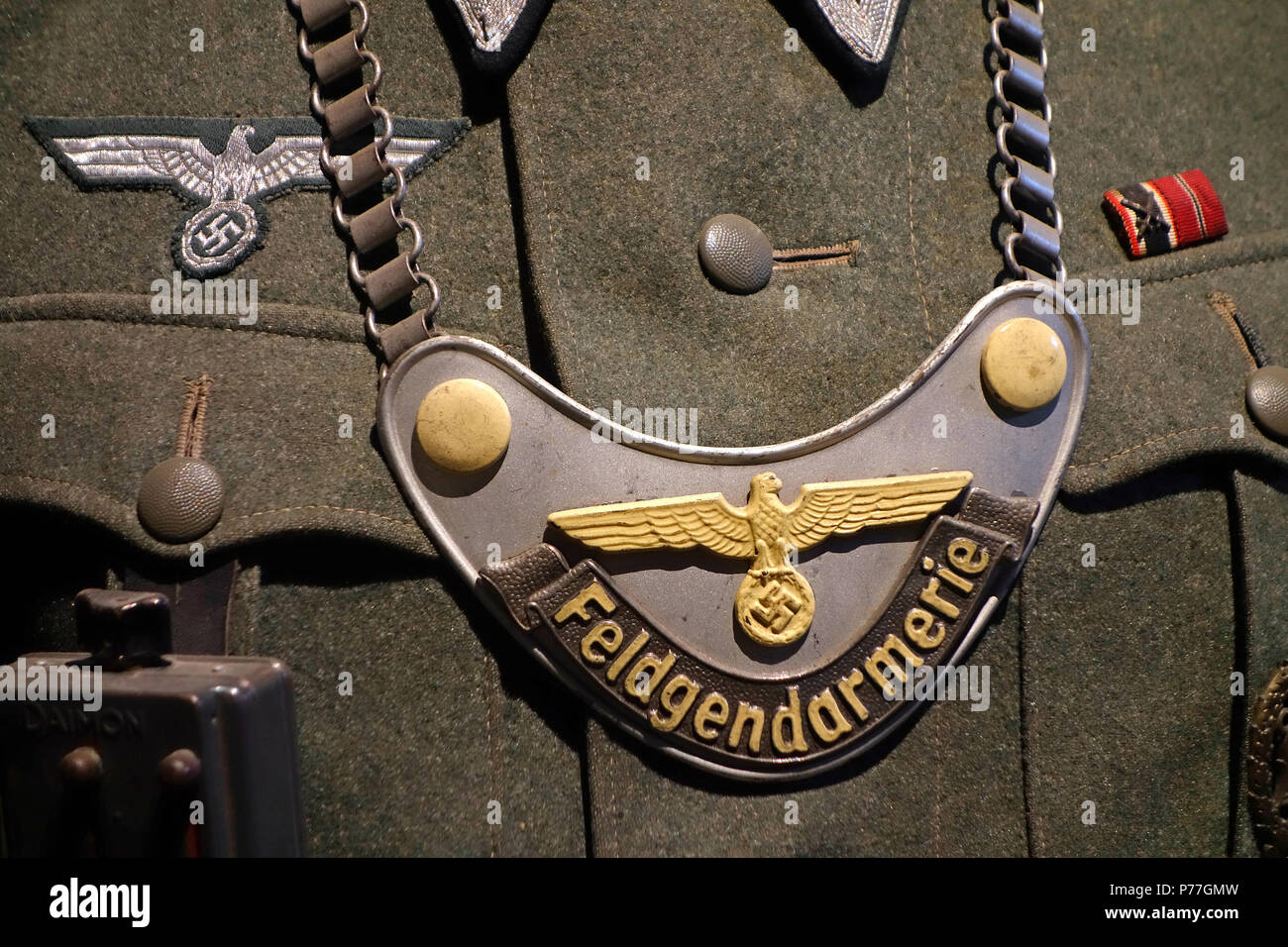 Close-up of WW2 German Feldgendarmerie / military police gorget on military uniform - Stock Image