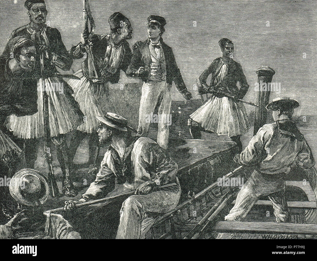 Arrest of British Sailors from HMS Fantome, arrested by Greek Soldiers in 1850 during an episode of British gun boat diplomacy, following the Don Pacifico affair - Stock Image