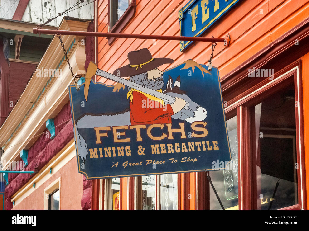 Sign at store for gold prospectors at Greene Street, Silverton, Colorado, USA - Stock Image
