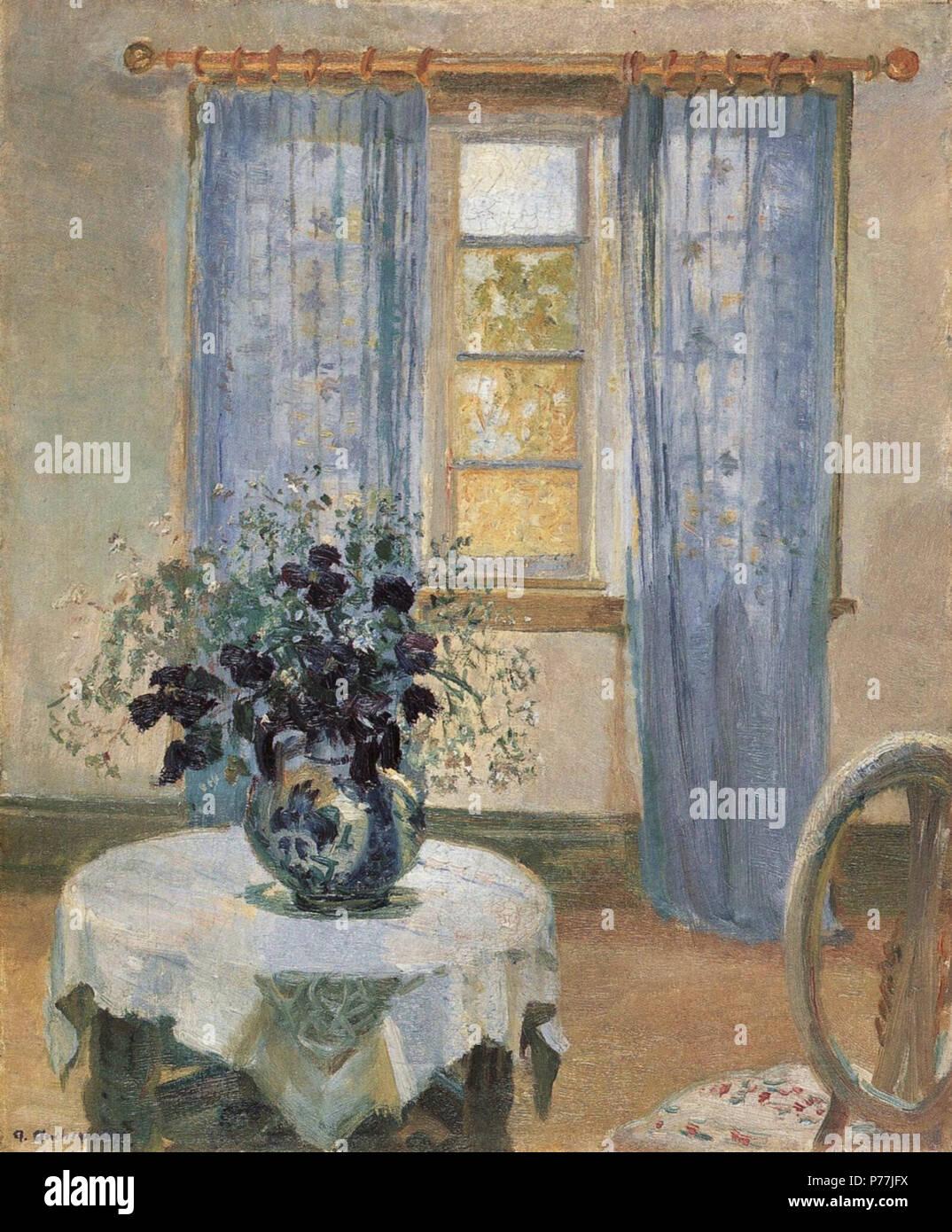 Strålende Stue med lyseblå gardiner og blå Clematis English: Blue Clematis ML-38